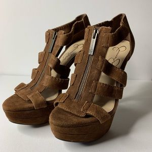 Jessica Simpson Suede Leather Brown Zip-Up Heels